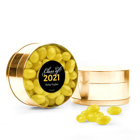 Personalized Yellow Graduation Favor Assembled Small Round Plastic Tin with Just Candy Jelly Beans