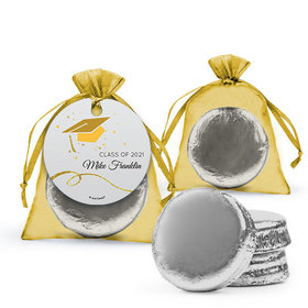 Personalized Yellow Graduation Favor Assembled Organza Bag Hang tag with Chocolate Covered Oreo Cookie