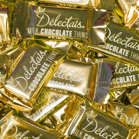 Delectais Milk Chocolate Thins with Gold Foil