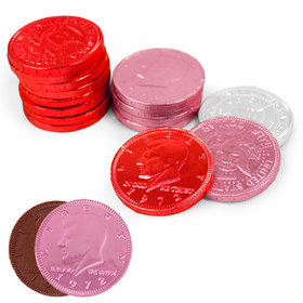 Valentine's Day Milk Chocolate Red, Pink and White Coins (72 Pack)