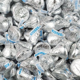 Silver Hershey's Kisses Foil Wrapped Bulk Chocolate Candy