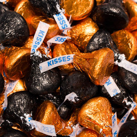 Black & Orange Hershey's Kisses Foil Wrapped Bulk Chocolate Candy