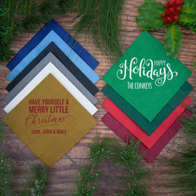 Personalized Christmas Angled 3-Ply Traditional Beverage Napkins