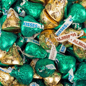 Green & Gold Hershey's Kisses Foil Wrapped Bulk Chocolate Candy