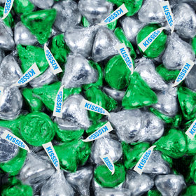Green & Silver Hershey's Kisses Foil Wrapped Bulk Chocolate Candy