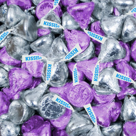 Purple & Silver Hershey's Milk Chocolate Kisses Foil Wrapped Bulk Chocolate Candy
