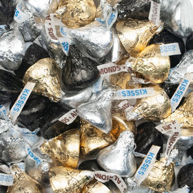 Black, Silver, & Gold Hershey's Kisses Foil Wrapped Bulk Chocolate Candy - 5lb Bag