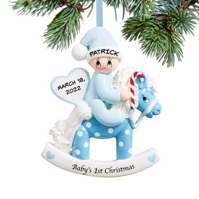 Baby's 1st Rocking Horse Blue Ornament