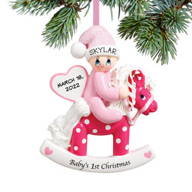 Baby's 1st Rocking Horse Pink Ornament