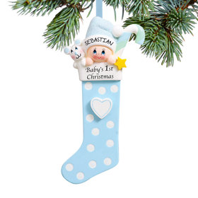 Baby's 1st Stocking Blue Ornament
