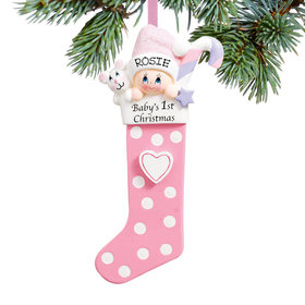 Baby's 1st Stocking Pink Ornament