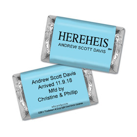 "Personalized Baby Boy Announcement HEREHEIS ""Here He Is"" Blue Hershey's Miniatures"