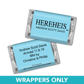 "Personalized Baby Boy Announcement HEREHEIS ""Here He Is"" Blue Hershey's Miniature Wrappers Only"