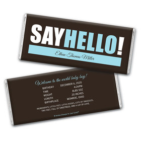 Personalized Say Hello! Baby Boy Birth Announcement Hershey's Chocolate Bar & Wrapper