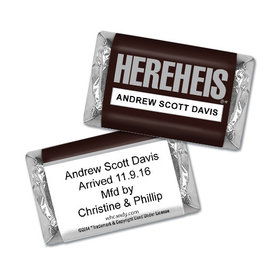 "Personalized Baby Boy Announcement HEREHEIS ""Here He Is"" Hershey's Miniatures"