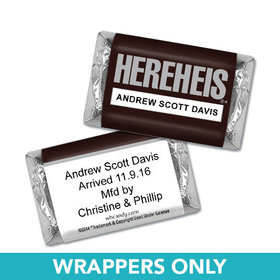 "Personalized Baby Boy Announcement HEREHEIS ""Here He Is"" Hershey's Miniature Wrappers Only"