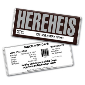 "Baby Boy Announcement Personalized Chocolate Bar Wrappers HEREHEIS ""Here He Is"""