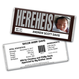 """Baby Boy Announcement Personalized Chocolate Bar Wrappers HEREHEIS """"Here He Is"""" with Photo"""