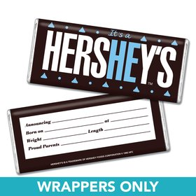 "Baby Boy Announcement Personalized Chocolate Bar Wrappers HEREHEIS ""Here He Is"" with Stats"