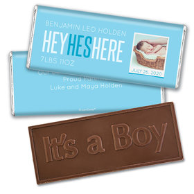 Personalized He's Here! Baby Boy Birth Announcement Hershey's Embossed Chocolate Bar & Wrapper