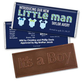 Baby Boy Announcement Personalized Embossed Chocolate Bar