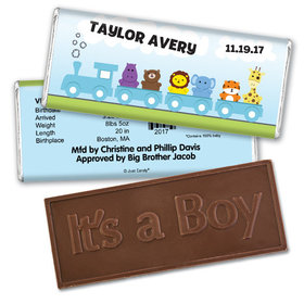Baby Boy Announcement Personalized Embossed Chocolate Bar Animal Safari Train