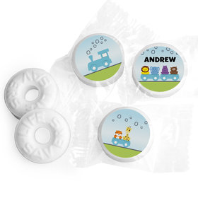 Baby Boy Announcement Personalized Life Savers Mints Animal Safari Train (300 Pack)
