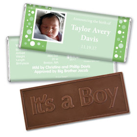 Baby Boy Announcement Personalized Embossed Chocolate Bar Dots & a Photo