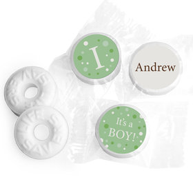 Baby Boy Announcement Personalized Life Savers Mints Dots