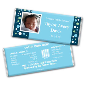 Baby Boy Announcement Personalized Chocolate Bar Wrappers Dots & a Photo