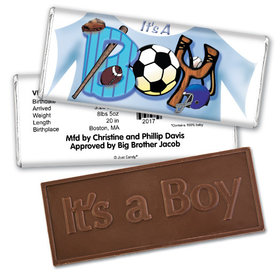 "Baby Boy Announcement Personalized Embossed Chocolate Bar Sports ""It's a Boy"""