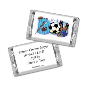 "Baby Boy Announcement Personalized Hershey's Miniatures Wrappers Sports ""It's a Boy"""