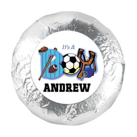 "Baby Boy Announcement 1.25"" Sticker Sports ""It's a Boy"" (48 Stickers)"