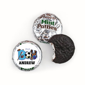 "Baby Boy Announcement Personalized Pearson's Mint Patties Sports ""It's a Boy"""