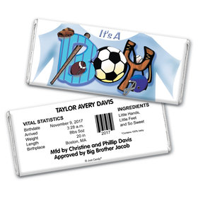 """Baby Boy Announcement Personalized Chocolate Bar Wrappers Sports """"It's a Boy"""""""