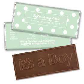 Baby Boy Announcement Personalized Embossed Chocolate Bar Polka Dots