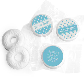 Baby Boy Announcement Personalized Life Savers Mints Polka Dots