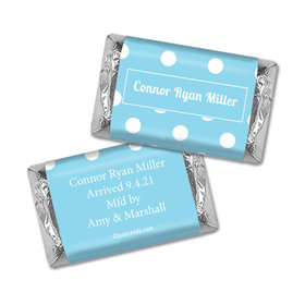 Personalized Baby Boy Announcement Polka Dots Hershey's Miniature Wrappers Only