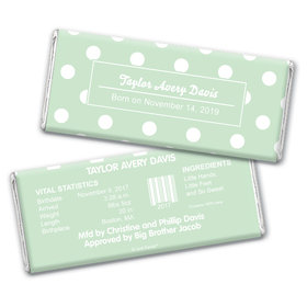 Baby Boy Announcement Personalized Chocolate Bar Wrappers Polka Dots