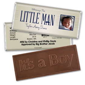 Baby Boy Announcement Personalized Embossed Chocolate Bar Little Man Mustache Photo