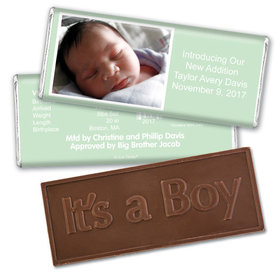 Baby Boy Announcement Personalized Embossed Chocolate Bar Photo