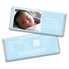 Baby Boy Announcement Personalized Chocolate Bar Photo