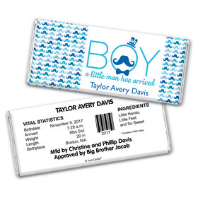 "Baby Boy Announcement Personalized Chocolate Bar Wrappers ""Oh Boy"" Mustache"