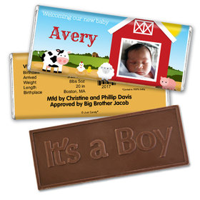 Baby Boy Announcement Personalized Embossed Chocolate Bar Barnyard with Photo
