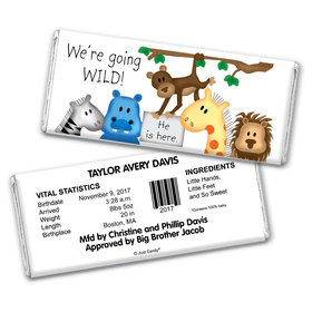 Baby Boy Announcement Personalized Chocolate Bar Wrappers Going Wild Jungle Animals