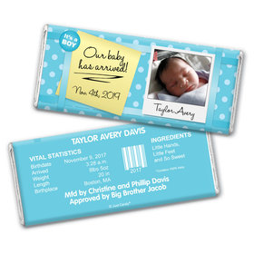 Baby Boy Announcement Personalized Chocolate Bar Wrappers It's a Boy! Polaroid Photo