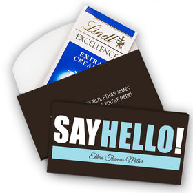 Deluxe Personalized Boy Birth Announcement Say Hello Lindt Chocolate Bar in Gift Box (3.5oz)
