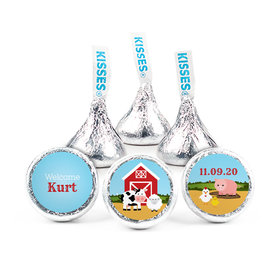 Personalized Boy Birth Announcement Barnyard Hershey's Kisses (50 pack)