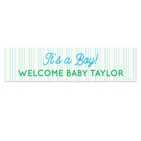 Personalized It's a Boy Stripes Boy Baby Announcement 5 Ft. Banner