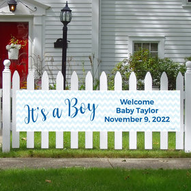 Personalized It's a Boy Chevron Boy Baby Announcement 5 Ft. Banner